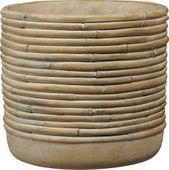 Myanmar Ceramic Pot Bamboo Brown (W15 x H14cm)