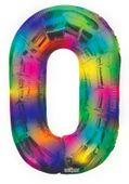 Number Balloon - 0 - Rainbow (34 inch)