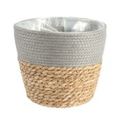 23cm Round Two Tone Seagrass and Grey Paper Basket