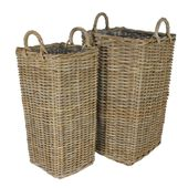 Set of 2 Tall Square Baskets with Liners