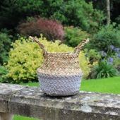 11.5cm Grey & Natural Two Tone Belly Basket