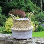 17cm Grey & Natural Two Tone Belly Basket