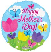 Happy Mothers Day Balloon - Butterflies and Flowers - 18 inch