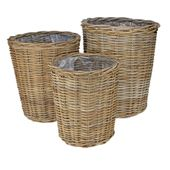 Set of 3 Full Cane Round Conical w/Liner